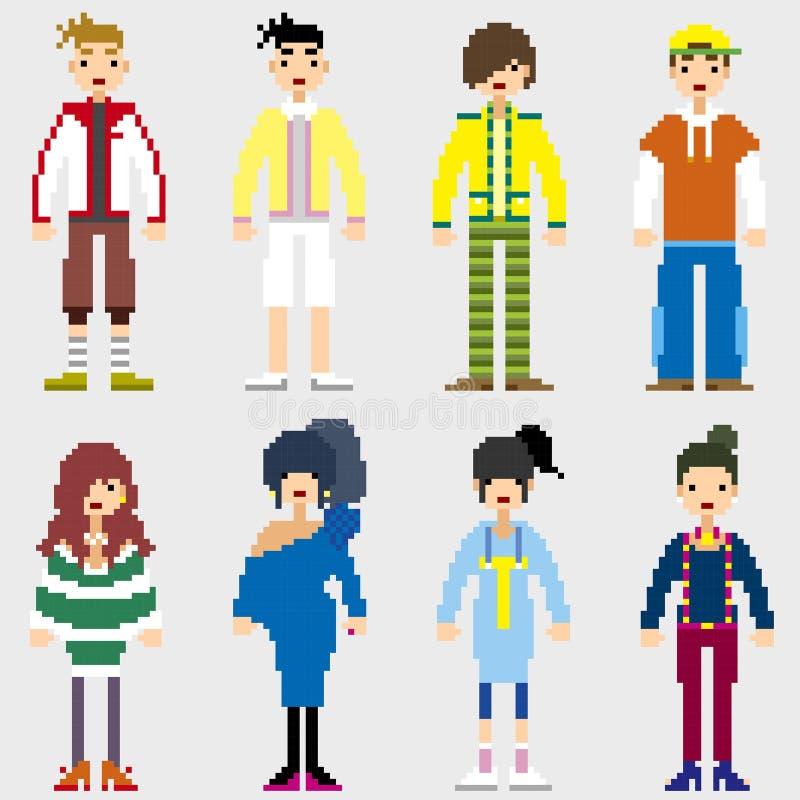 Fashion Pixel People royalty free illustration