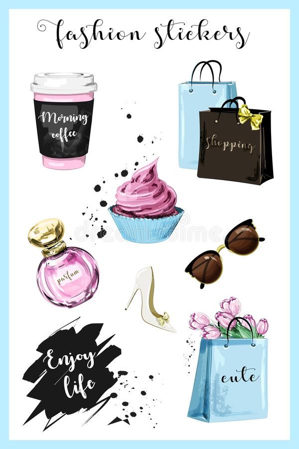 Fashion planner girl stickers with coffee cup, shopping bags, perfume, shoe, sunglasses, flowers, cupcake and slogan sticker. royalty free illustration