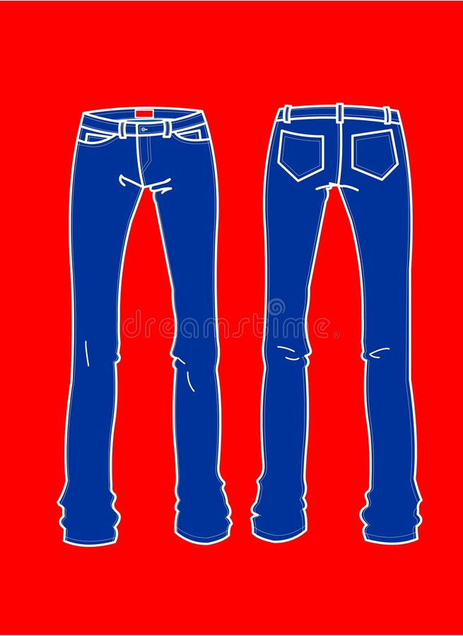 Fashion Plates Blue Jeans royalty free illustration