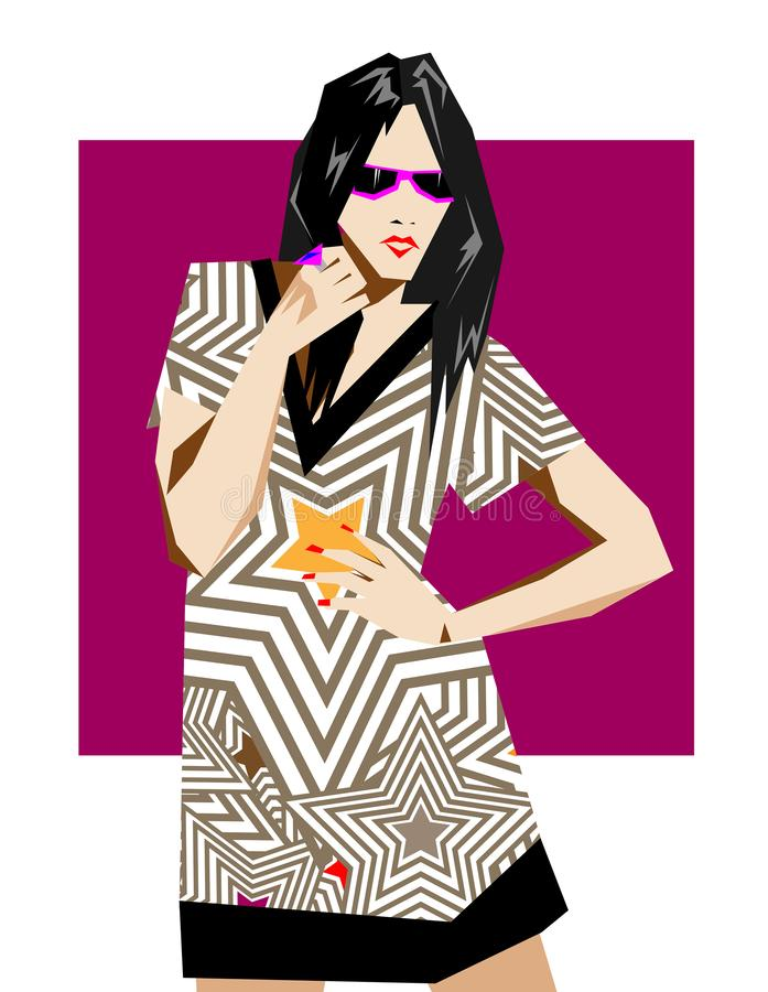 Fashion pop-art girl illustration. Abstract woman royalty free illustration
