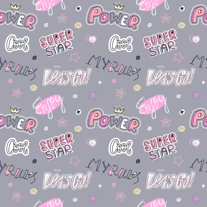 Fashion Pop Art sketch seamless pattern with heart, stickers, text, stars. Super star, Cool, my rules, power. Girlish Print design for T-shirts, banners vector illustration