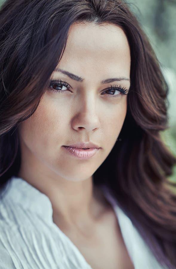 Fashion portrait of amazing brunette woman close up stock photo