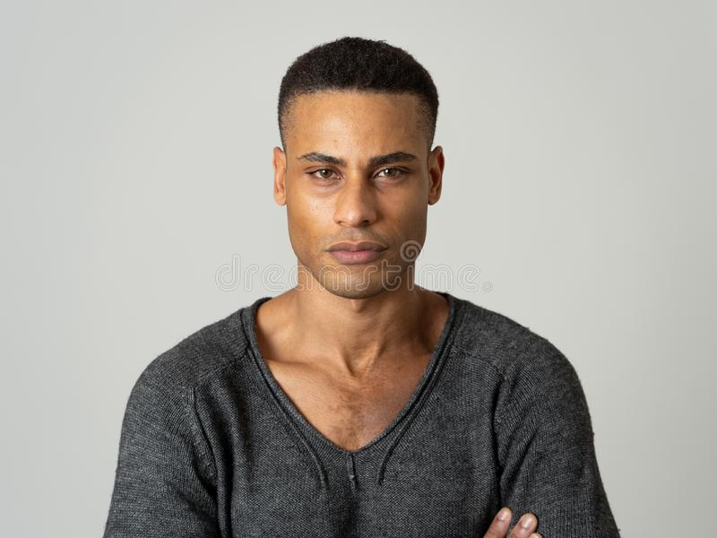 Fashion portrait of Attractive african american male model posing happy and sexy for the camera stock photo