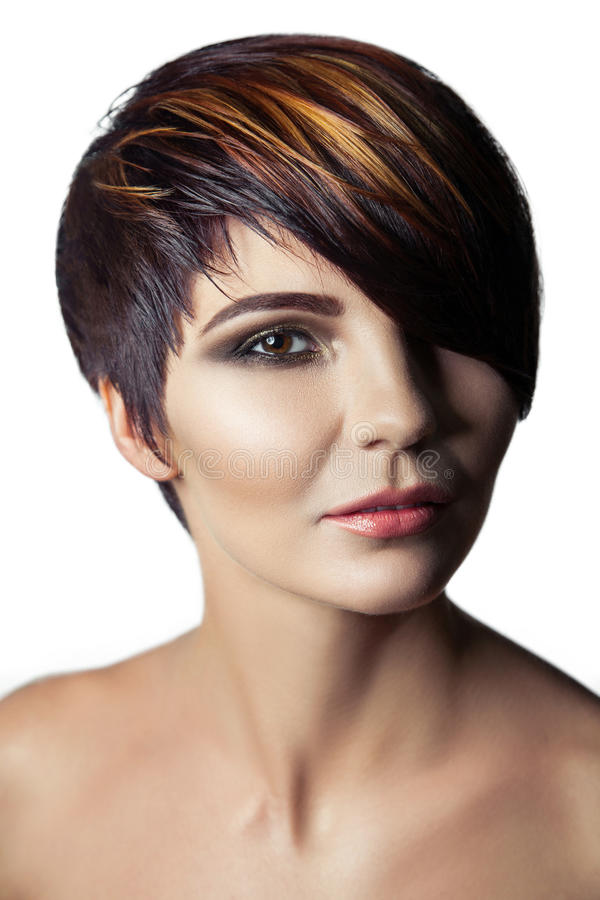 Fashion Portrait Of A Beautiful Girl With Colored Dyed Hair ...