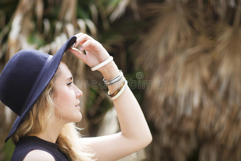 Fashion portrait of beautiful hippie young woman royalty free stock photography