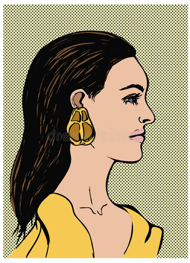 Fashion portrait of beautiful sensual young woman. Profile of girl with black long hair. Pop Art vector illustration on dot royalty free illustration
