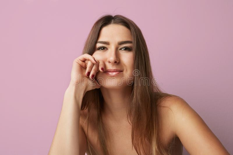 Download Fashion Portrait Of A Beautiful Smiling Woman With Long Hair Over Empty Pink Background. Fashion Photo.Horizontal. Stock Image - Image of closeup, beauty: 114837249
