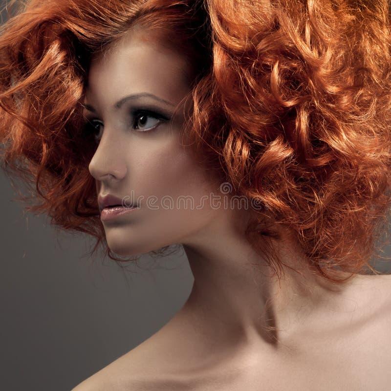 Fashion Portrait. Beautiful Woman. Curly Hair. royalty free stock photo