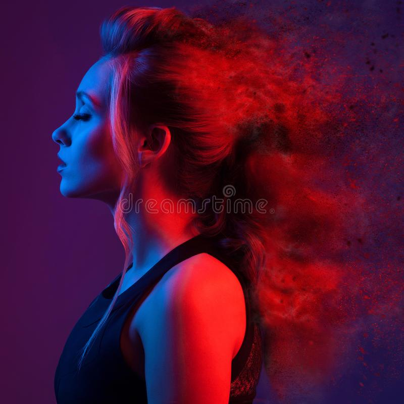 Fashion portrait of beautiful woman. Explosion Hairstyle. stock photography