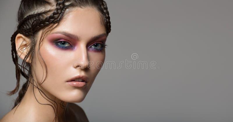 Fashion portrait of beautiful woman. Fantasy make-up royalty free stock image