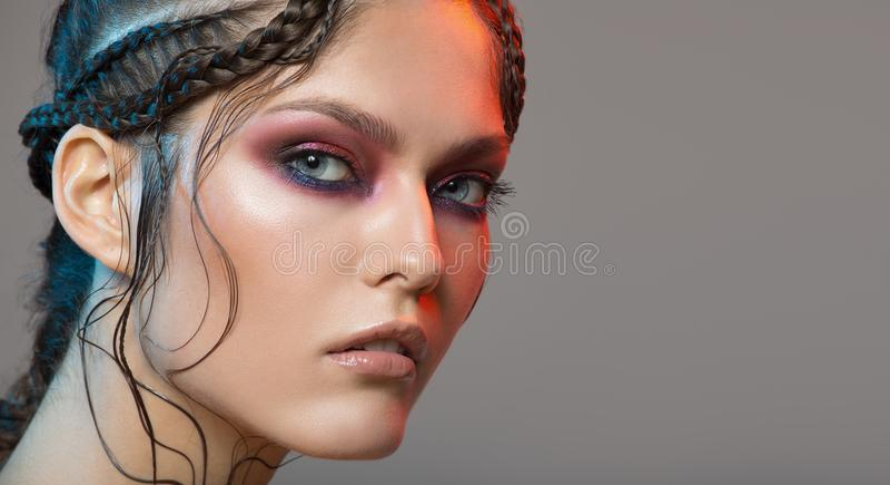 Fashion portrait of beautiful woman. Fantasy make-up stock images