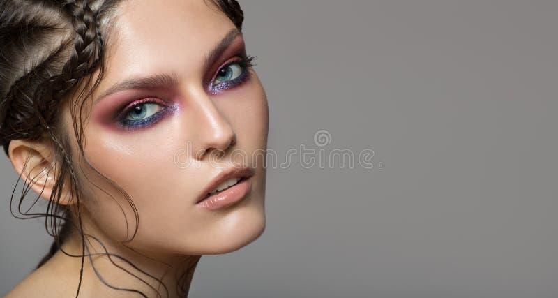 Fashion portrait of beautiful woman. Fantasy make-up royalty free stock photo
