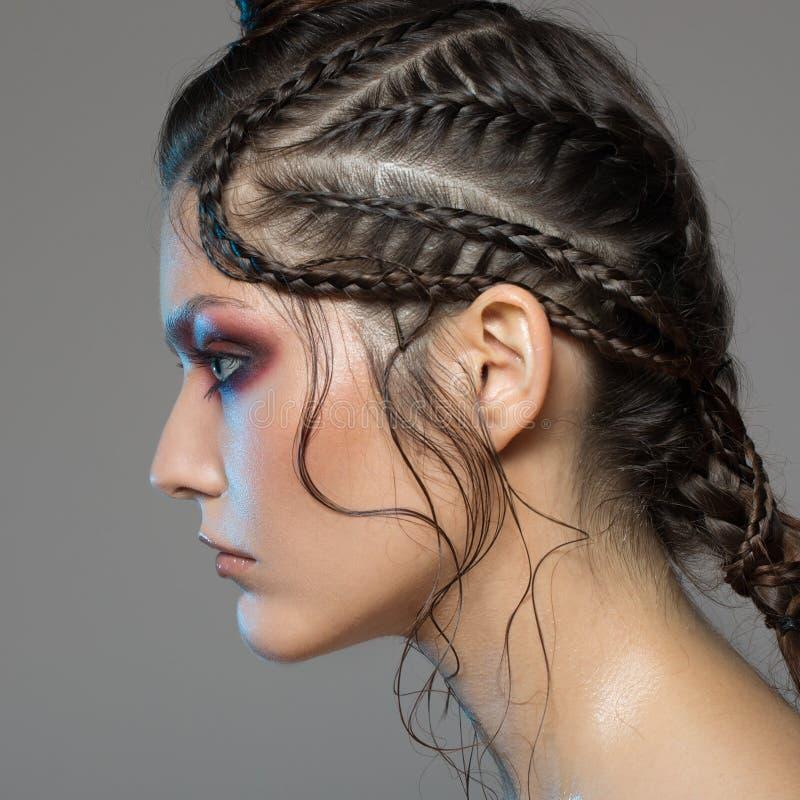 Fashion portrait of beautiful woman. Fantasy make-up stock image
