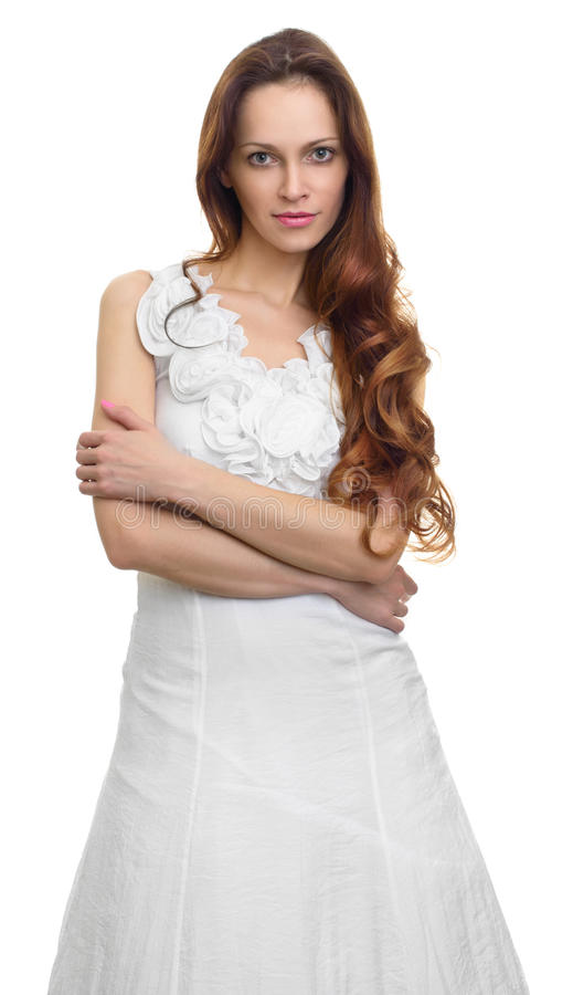 Fashion portrait of beautiful young woman with curly hair royalty free stock image
