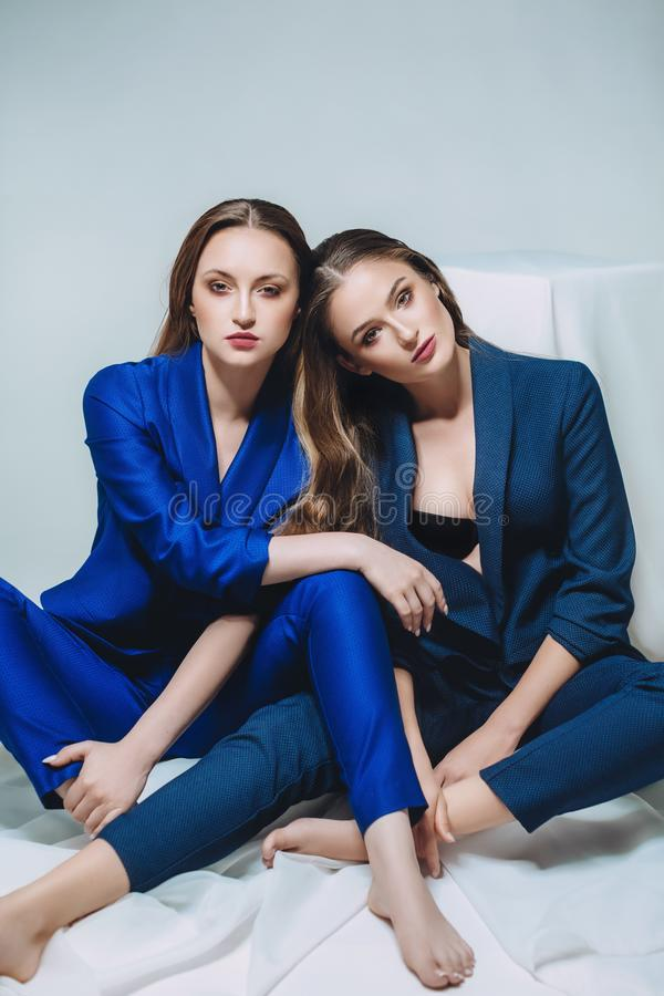 Portrait of beautiful young women with makeup royalty free stock image