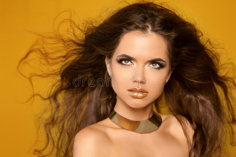Fashion Portrait. Beauty Woman with Very Long Healthy and Shiny royalty free stock photos