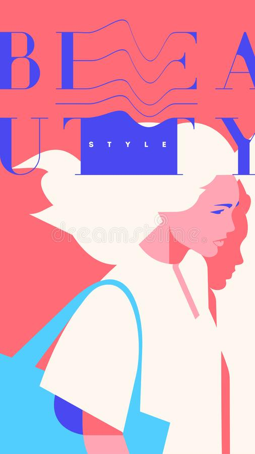 Fashion portrait of a blondie model girl. Retro trendy pink color stories template. stock illustration