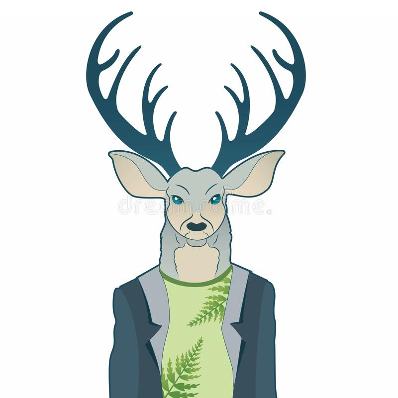 Fashion portrait of hipster deer. Reindeer dressed up in coat, furry art character, trand animals, anthropomorphism. Illustration for t-shirt print, card vector illustration