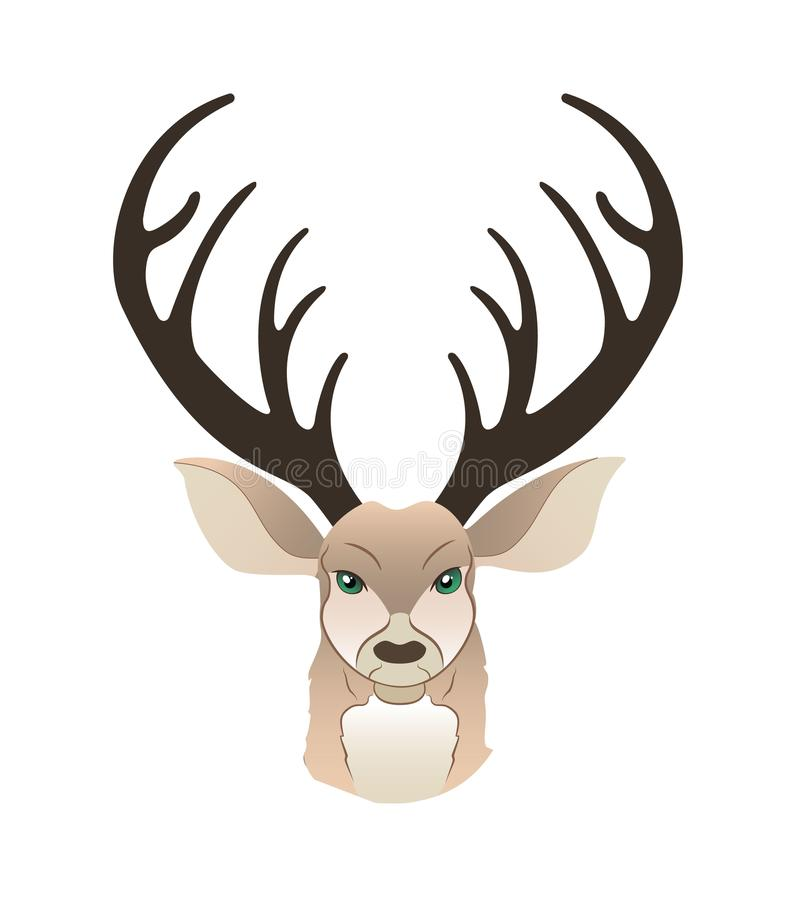 Fashion portrait of hipster deer. Reindeer dressed up in coat, furry art character, trand animals, anthropomorphism. Illustration for t-shirt print, card royalty free illustration