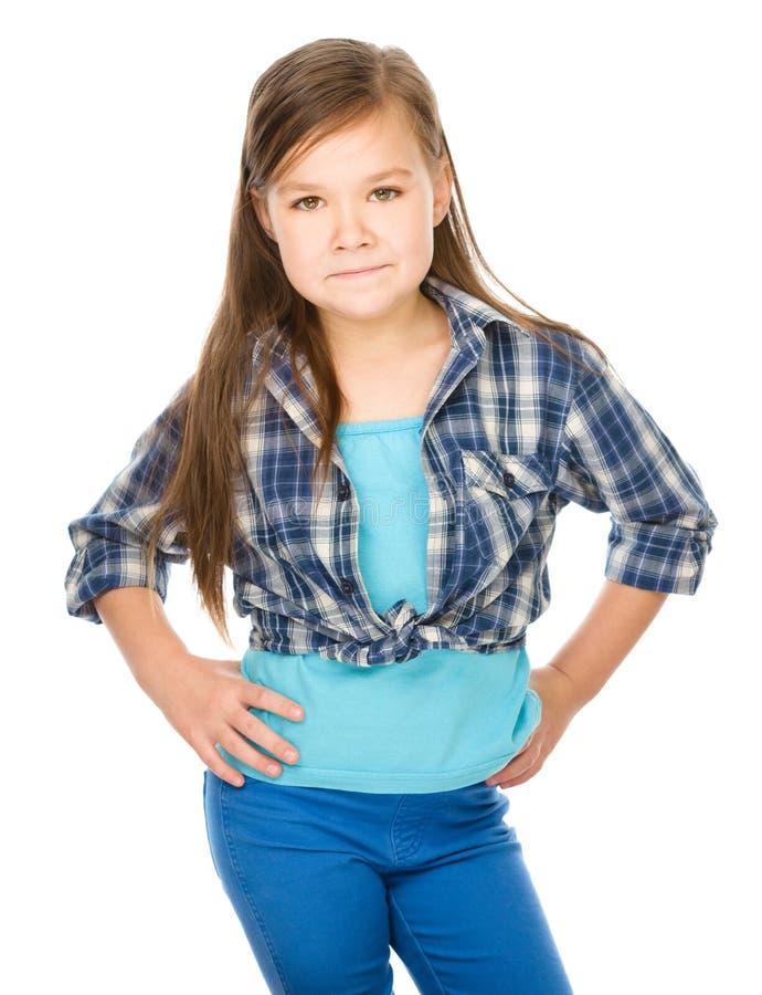 Fashion portrait of a little girl. Fashion portrait of a cute little girl, isolated over white stock photo