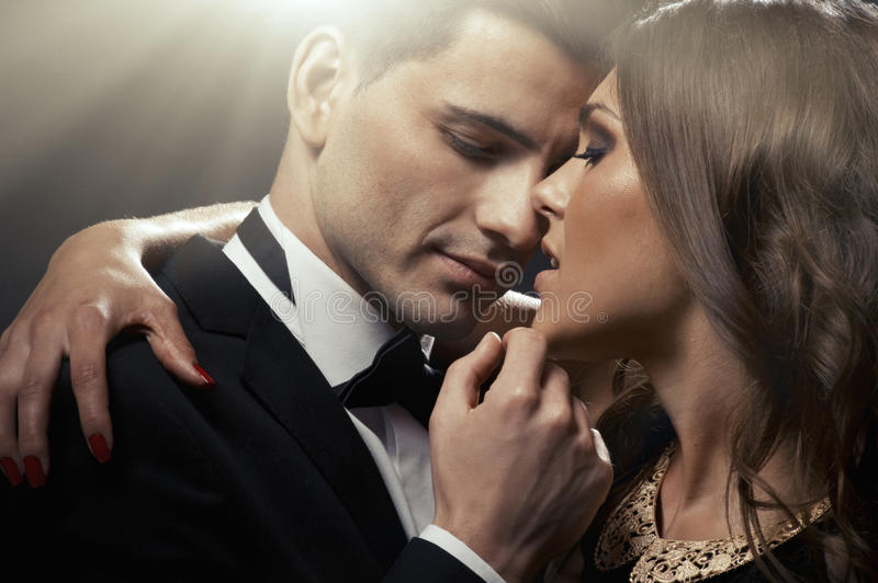 Fashion portrait of lovers royalty free stock photo