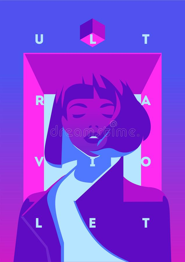 Fashion portrait of a model girl and neon light. Ultraviolet trendy colors poster or flyer. Flat minimalistic vector fashion portrait of a model girl and neon stock illustration