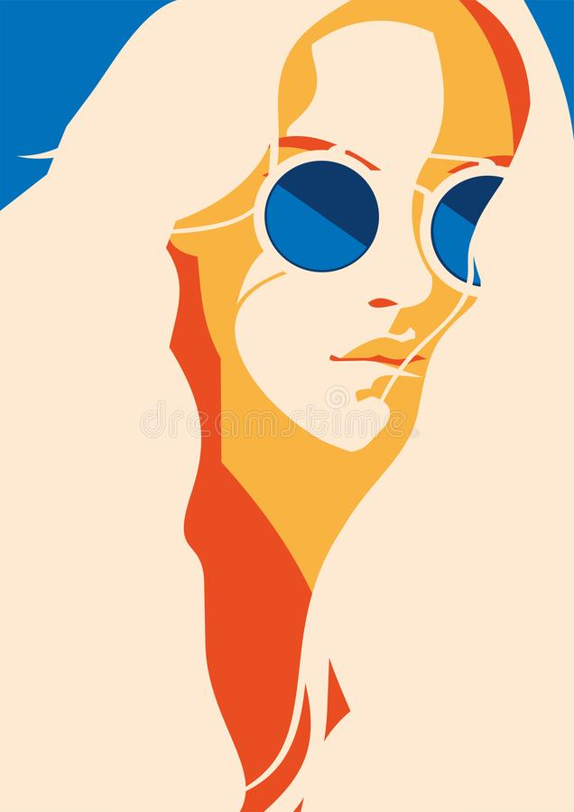 Fashion portrait of a model girl with sunglasses. Retro trendy colors poster or flyer. Flat minimalistic vector fashion portrait of a model girl with sunglasses royalty free illustration
