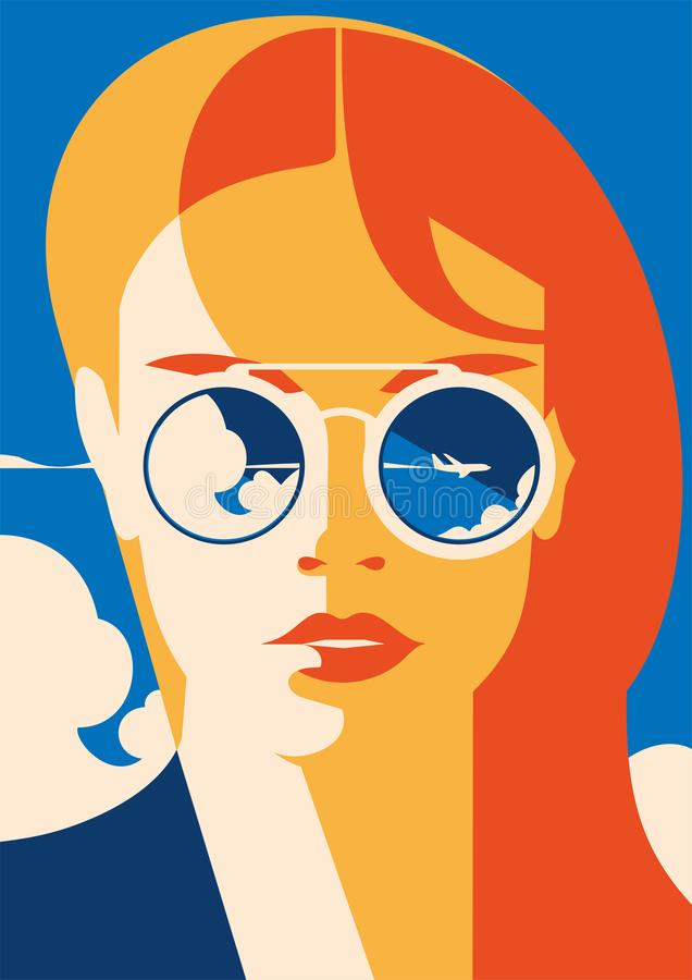 Fashion portrait of a model girl with sunglasses. Time to Travel and Summer Holiday poster. Time to Travel and Summer Holiday poster. Airplane Traveling vector illustration