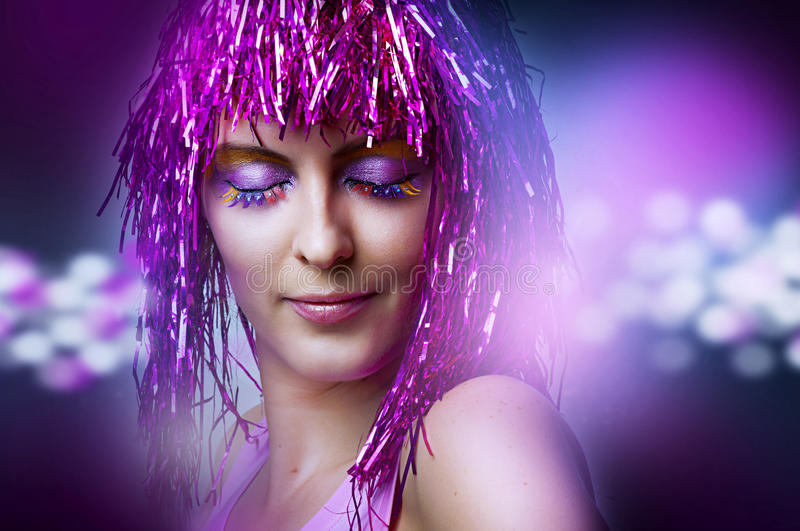 Fashion portrait of model, glamour makeup stock photography