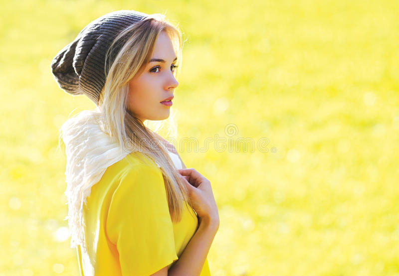 Fashion portrait pretty stylish hipster girl. Outdoors royalty free stock photos