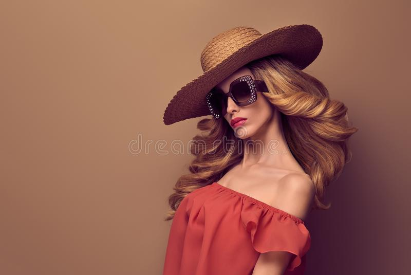 Fashion Sensual Beautiful Blond Woman. Wavy Hair royalty free stock photos
