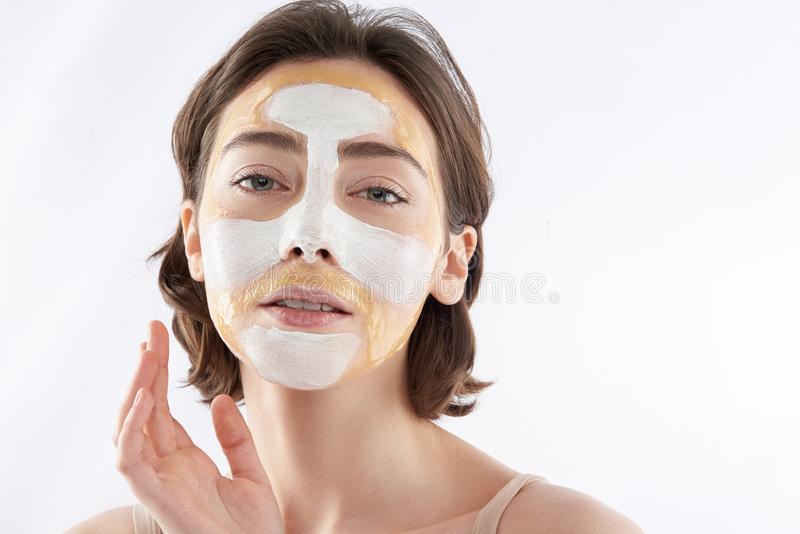 Fashion portrait of sensual woman with face mask royalty free stock image