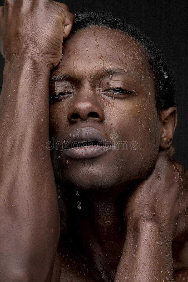 African American Man With Water On Face Royalty Free Stock -9545