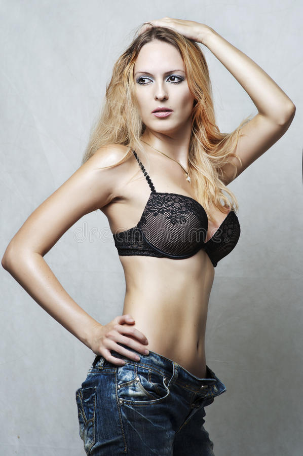 Fashion portrait of sexy underwear model.
