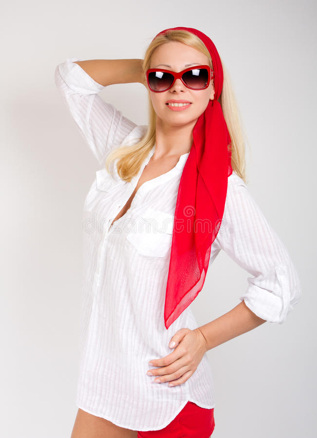 Fashion Portrait Of Woman Wearing Sunglasses. Royalty Free Stock Images