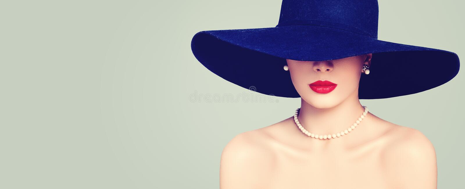 Fashion portrait of stylish woman with red lips makeup royalty free stock photography