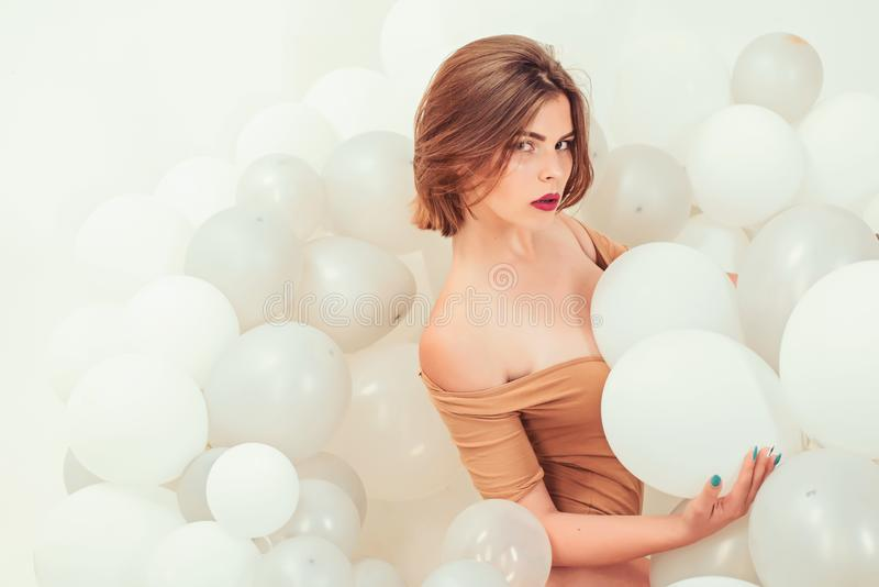 Fashion portrait of woman. happy birthday. Pretty girl. party celebration with balloons. Woman. inspiration and royalty free stock photo