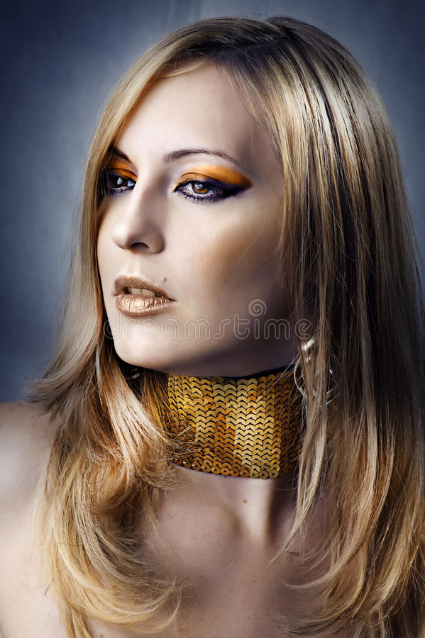 Fashion portrait of young beautiful woman royalty free stock images
