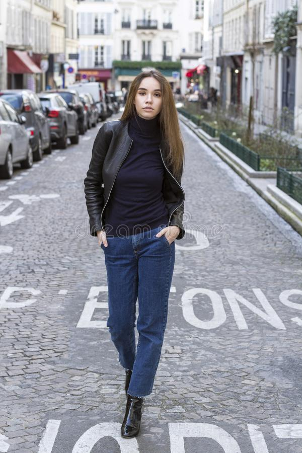 Fashion portrait of young beautiful woman in Paris. royalty free stock photos