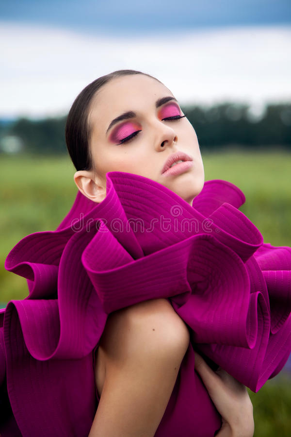Fashion portrait of a young girl stock images