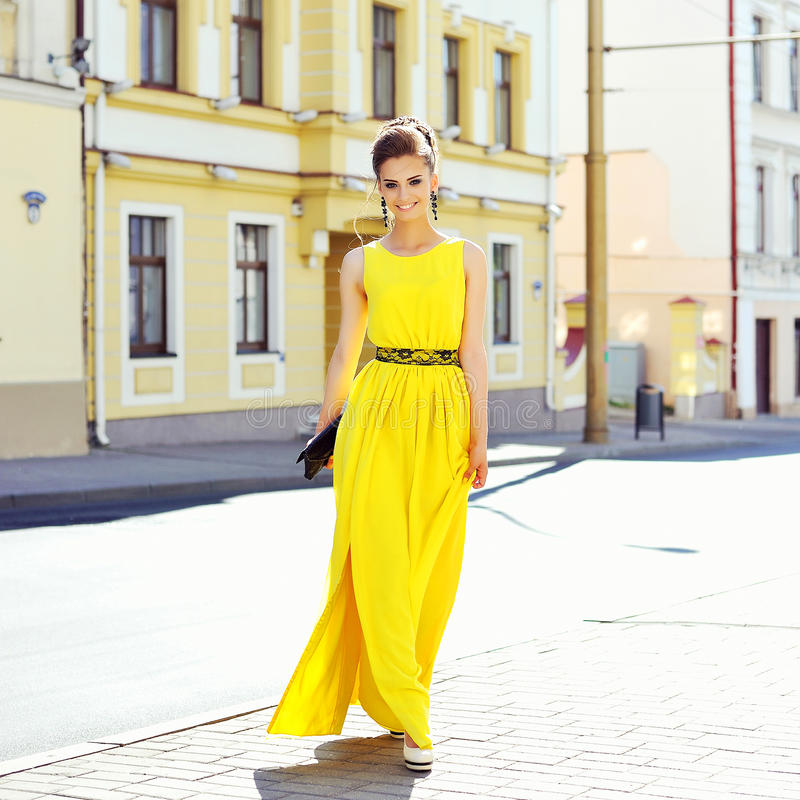 Fashion portrait of young magnificent woman. Elegant girl posing stock photos