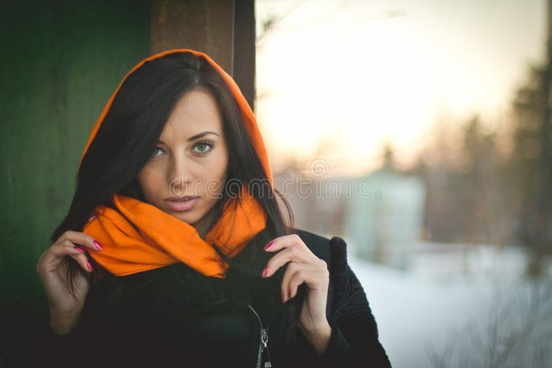 Fashion portrait of young muslim wearing hijab stock photos