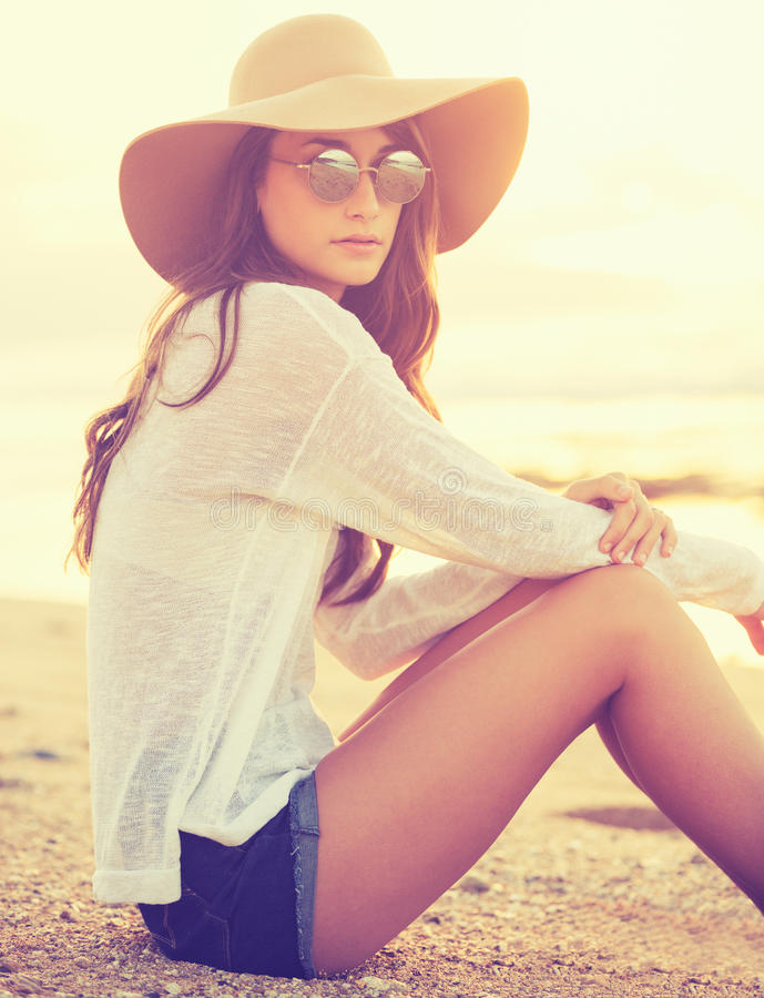 Fashion portrait of young woman stock images