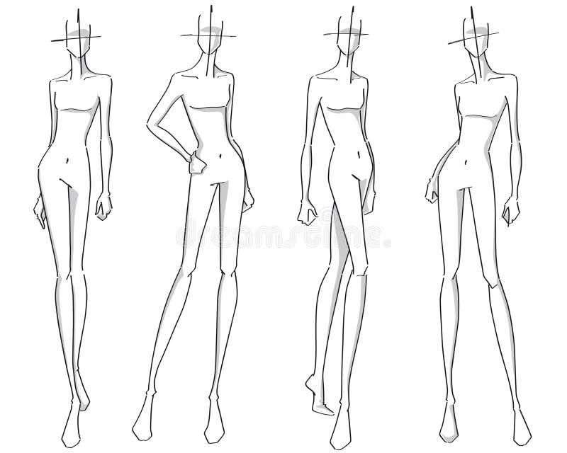Fashion poses. Fashion stylized silhouettes holding different poses stock illustration
