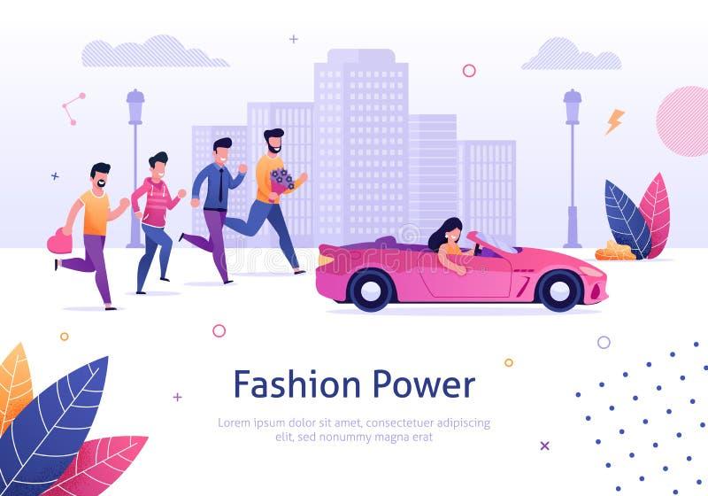 Fashion Power. Beautiful Woman in Pink Car Man Run. Fashion Power. Beautiful Woman Drive Pink Cabriolet Man Run Behind Vector Illustration. Cartoon Character royalty free illustration