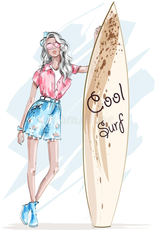 Fashion pretty woman with umbrella. Stylish girl with blonde hair. Sketch. Fashion girl. vector illustration