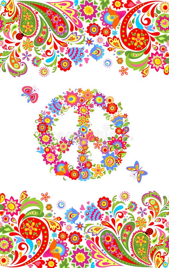 Fashion print with colorful floral summery seamless border and hippie peace flowers symbol for shirt design and hippy party poster vector illustration