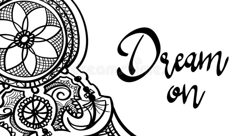 Fashion print dream on dreamcather tattoo mehndi design with feathers . black doodle hand drawn contour outline isolated on white vector illustration