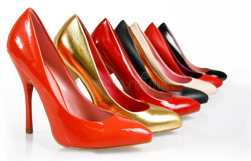 Fashion pumps shoes collection stock photos
