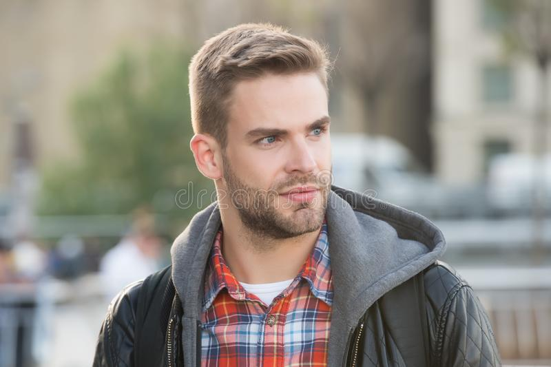 Fashion purposes comfort. Young man in casual clothing on urban background. Handsome man wear casual style. For casual stock photos